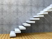 Concept or conceptual white stone or concrete stair or steps near a wall background with wood floor,