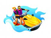 stock photo of jet-ski  - Happy couple enjoy riding ski jet in blue ocean - JPG