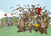 image of raid  - crazy vikings raiding illustration - JPG