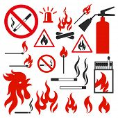 Set of fire icons on white background. Illustration on the theme of fire. Raster copy