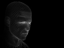 picture of cyborg  - High resolution concept or conceptual 3D wireframe human male head isolated on black background as a metaphor for technology - JPG