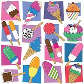 stock photo of jimmy  - ice cream illustration set on colorful rectangular and white background - JPG