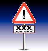 pic of porno  - vector illustration of adult content signboard on night background - JPG