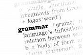 pic of grammar  - Grammar Dictionary Definition closeup black and white - JPG