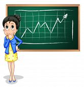 Illustration of a businesswoman thinking in front of the blackboard on a white background