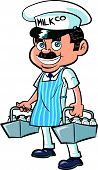 stock photo of milkman  - Cartoon Milkman delivering milk - JPG
