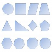 picture of heptagon  - Set of two dimension shapes in white background - JPG