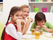 pic of sandwich  - Three kids chomping on healthy sandwiches with cheese and vegetables - JPG