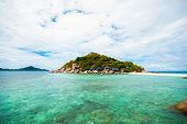 picture of yuan  - Nang yuan Island Thailand with blue sky and sea - JPG