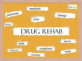 foto of pegboard  - Drug Rehab Corkboard Word Concept with great terms such as addict doctor help and more - JPG