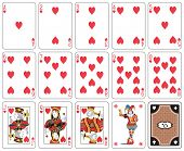 Playing cards heart suit, joker and back