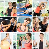 picture of compose  - Healthy lifestyle fitness theme collage composed of different images - JPG