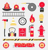 stock photo of firefighter  - Collection of flat retro style firefighter icons and symbols - JPG