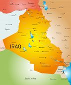 stock photo of tehran  - vector detailed map of Iraq country - JPG