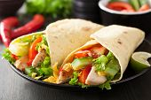 picture of  breasts  - mexican tortilla wrap with chicken breast and vegetables - JPG