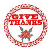 stock photo of give thanks  - give thanke grunge stamp with on vector illustration - JPG