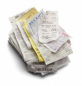 stock photo of receipt  - Pile of Varioous Receipts Isolated on White Background - JPG