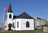 Norwegian Church with flag on pole