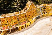 picture of gaudi barcelona  - Barcelona Park Guell of Gaudi tiles mosaic serpentine bench modernism - JPG