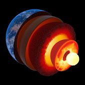 pic of lithosphere  - Earth core structure illustrated with geological layers according to scale  - JPG