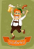 image of beer-belly  - Oktoberfest poster of burger with sausage and beer vector illustration - JPG