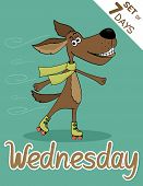 stock photo of weekdays  - Wednesday dog weekdays hipster vector illustration calendar set - JPG