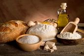 pic of home-made bread  - dough and ingredients for homemade bread - JPG