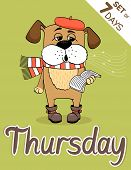 stock photo of weekdays  - Thursday dog weekdays hipster vector illustration calendar set - JPG