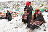 MT. KAILASH, TIBET, CHINA �¢�?�? JUNE 3, 2012: Buddhist pilgrims praying at Drolma La pass near