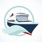 foto of passenger ship  - Cruise ship or liner symbol vector illustration - JPG