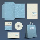 Stationery Template Design - Business Set with Raindrops Pattern