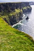 picture of cliffs moher  - Famous cliffs of Moher with tower - JPG