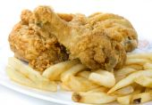 stock photo of fried chicken  - Take out greasy deep fried chicken and chips - JPG