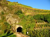 pic of railroad yard  - Railroad tunnel in a wine yard at the Ahr - JPG