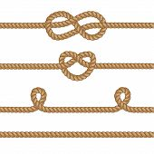 foto of lasso  - Set of ropes with knots for any design idea - JPG
