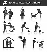 pic of non-profit  - Social responsibility services and volunteer icons set black isolated vector illustration - JPG