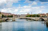 stock photo of bonaparte  - the Bonaparte Bridge Lyon France color horyzontal - JPG