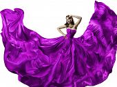 picture of flutter  - Woman silk dress long fluttering train girl purple fabric clothes with long hairs isolated over white background - JPG