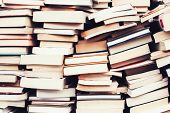picture of flea  - piles of old books in the flea market - JPG