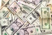 picture of twenty dollars  - banknotes one five ten twenty fifty and one hundrid dollar closeup - JPG
