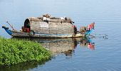 image of houseboats  - waterside scenery with rural houseboat at the Tonle Sap a river in Cambodia - JPG
