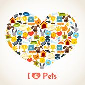 picture of petting  - I love pets heart concept with comfort care elements vector illustration - JPG
