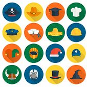 image of policeman  - Modern and old caps flat icons set with policeman builder chef hats isolated vector illustration - JPG