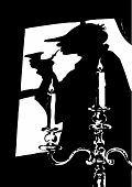 foto of sherlock  - Silhouette representing the famous novel figure of Sherlock Holmes - JPG