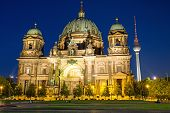 image of dom  - The illuminated Berliner Dom and the TV Tower at night - JPG