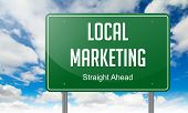 stock photo of market segmentation  - Highway Signpost with Local Marketing wording on Sky Background - JPG