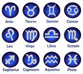 foto of pisces horoscope icon  - Horoscope icons stickers set on white background - JPG