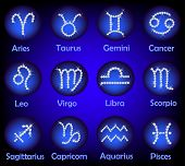 Постер, плакат: Horoscope Gems Signs Set