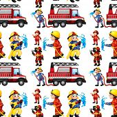 image of firemen  - Illustration of a seamless fire truck and firemen - JPG