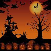stock photo of magical-mushroom  - Holiday Halloween landscape with pumpkins Jack O Lantern - JPG